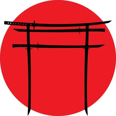 torii: silueta de la puerta torii con la ilustraci�n japonesa vector de espadas