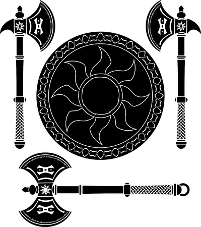 fantasy shield and swords of vikings Vector