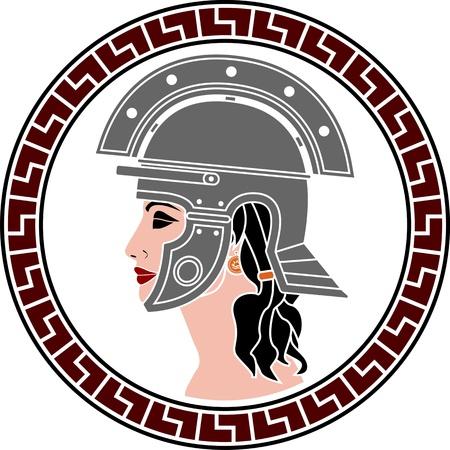 roman mythology: profile of amazon women. stencil. vector variant Illustration