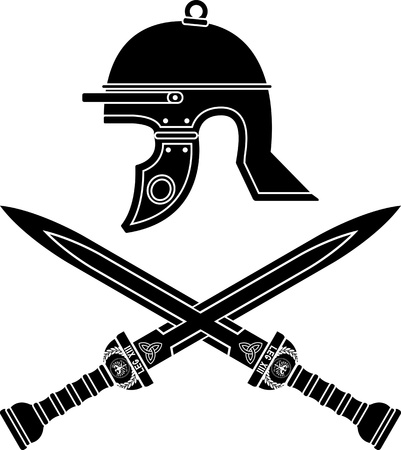 roman helmet and swords. fourth variant Vector