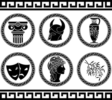vasi greci: elleniche pulsanti stencil illustrazione quinta variante