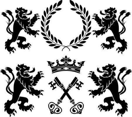 heraldic monsters  stencils  second variant illustration Vector