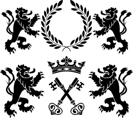 black wreath: heraldic monsters  stencils  second variant illustration Illustration