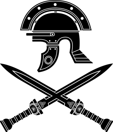 roman helmet and swords  fifth variant illustration Vector