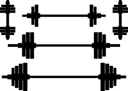 barbell: silhouettes of weights  second wariant illustration Illustration