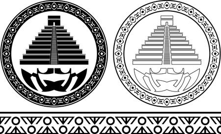 kukulkan: stencils of mayan pyramids illustration