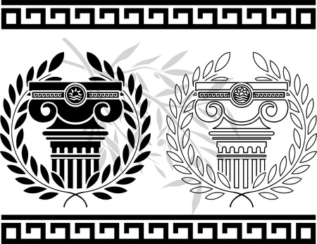 ionic columns with wreaths  stencil illustration Vector