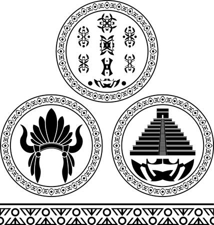 indian tribal headdress: mayan signs, headdress, pyramid and pattern  stencils illustration