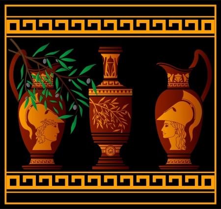 greco: red greek jugs illustration