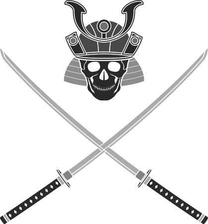katana: schedel van samurai illustratie