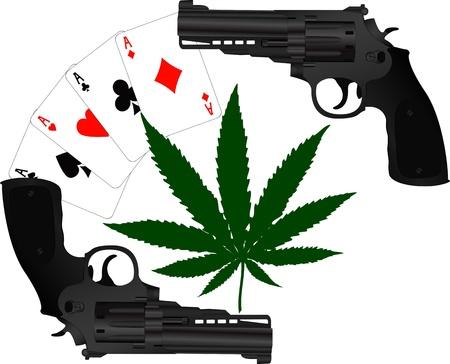 marihuana: kaarten, hennep en twee pistolen Stock Illustratie