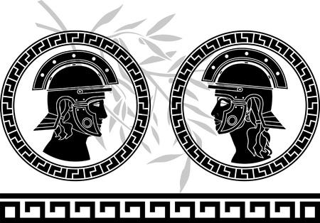 cascos romanos: dios romano y la ilustración vectorial diosa