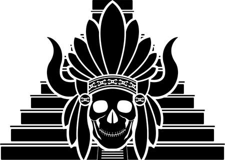 kukulkan: skull of mayan indian  stencil  vector illustration Illustration