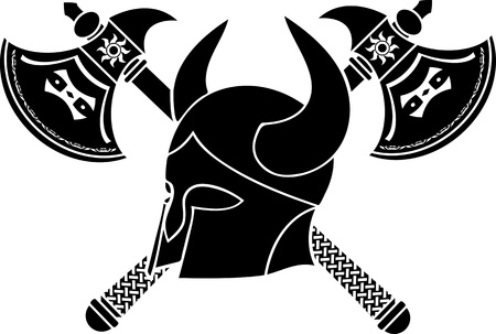 norse: fantasy helmet with axes  stencil  first variant  Illustration