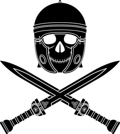 cascos romanos: cráneo de la variante tercer guerrero Vectores