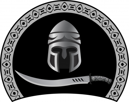 medieval helmet with sword illustration  Vector
