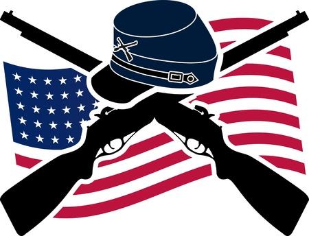 union: Guerra di secessione americana Union Stencil Vettoriali