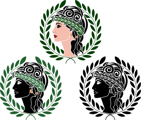 variant: profiles of greek woman  second variant Illustration