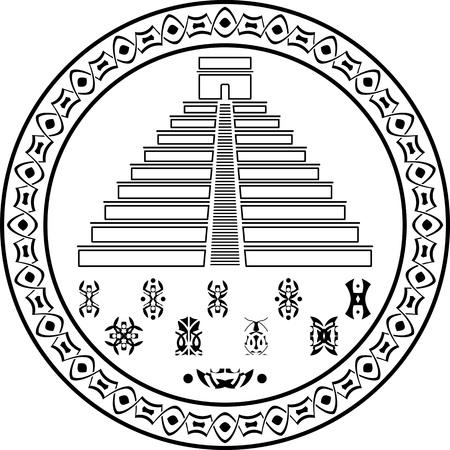 kukulkan: stencil of pyramids and symbols   illustration Illustration