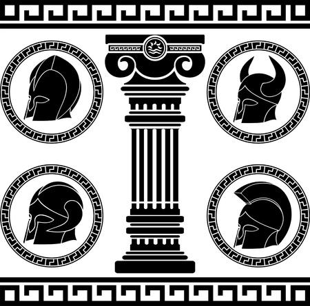 past civilization: ancient helmets stencil illustration