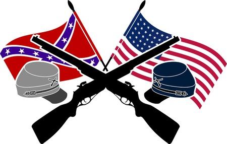 union flag: American Civil War. stencil. second variant. Illustration