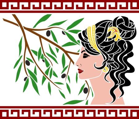 arte greca: Afrodite e ramo d'ulivo. Vettoriali