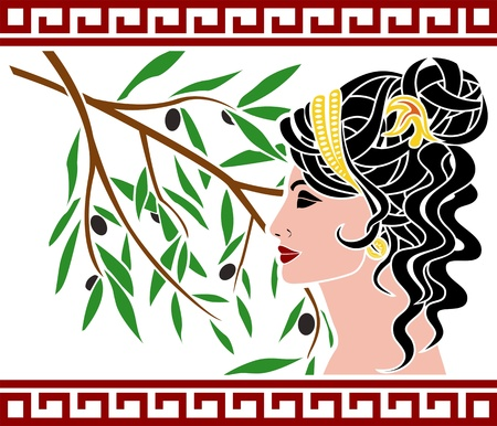 Aphrodite and olive branch. Illustration