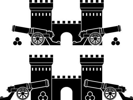 a cannon: castle and guns with kernels. stencils.