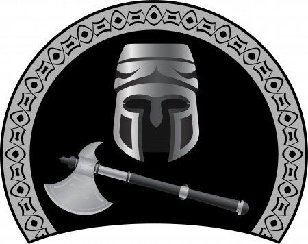 medieval helmet with axe.  Vector