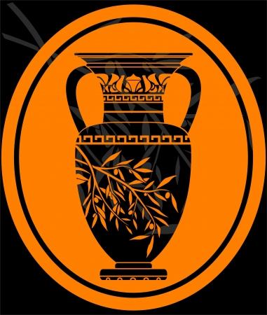 romano: plantilla de la jarra de aceite de oliva.