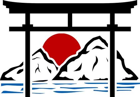 torii: torii puerta y el amanecer. stencil.