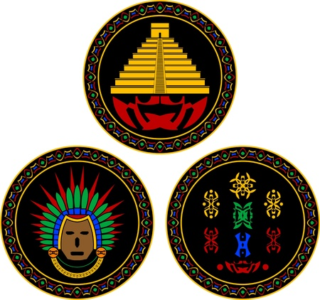 mayan and aztec symbols   Vector