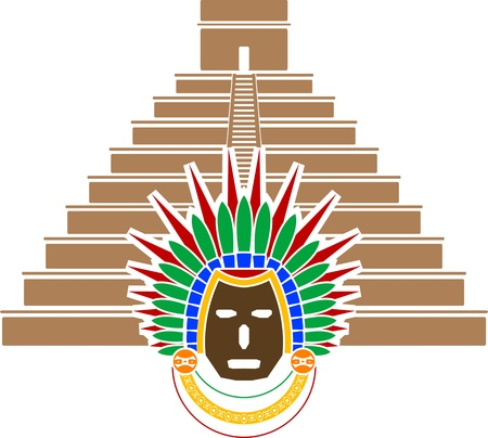 mayan pyramid and mask. vector illustration Vector