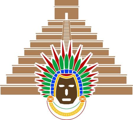 kukulkan: mayan pyramid and mask. vector illustration