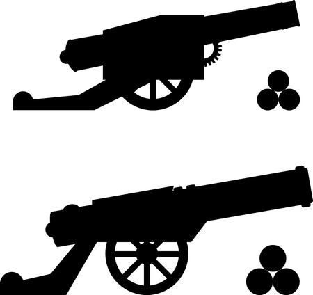 a cannon: silhouettes of guns with kernels