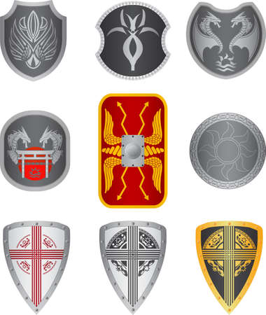 set of shields.  illustration Vector