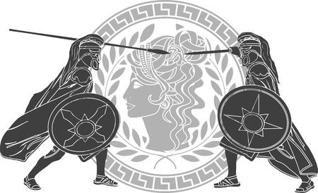 antigua grecia: Guerra de Troya. tercera variante. ilustración vectorial