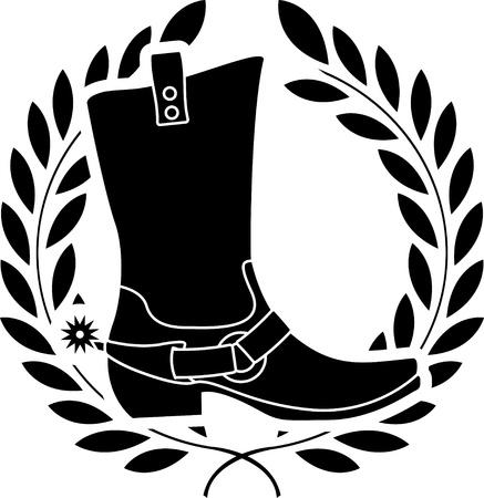 spur: boot with spurs  stencil  illustration Illustration