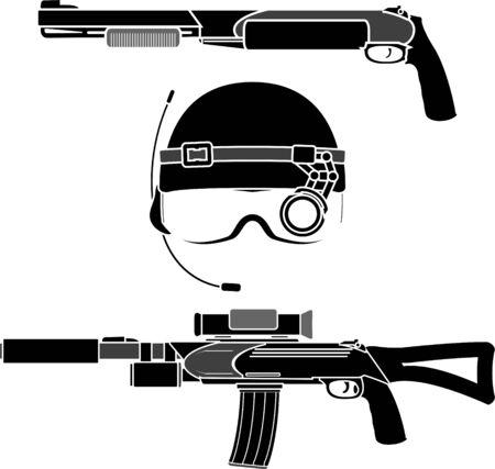 military helmet: combat helmet and weapons  illustration