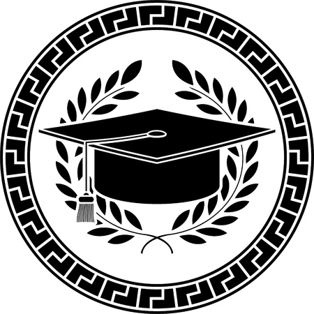 academics: square academic cap  stencil  illustration