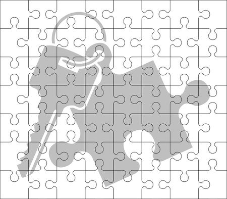conclude: stencil of puzzle key  vector illustration