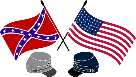 American Civil War  stencil  first variant  vector illustration Vector