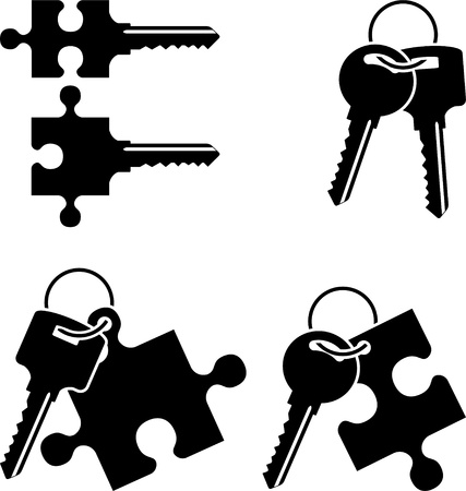 puzzle keys  stencil  vector illustration Stock Vector - 16311445