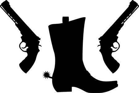 black boots: silhouette of pistols and boot with spurs  vector illustration