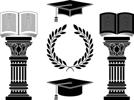 columnas romanas: educación ilustración plantilla quinta variante