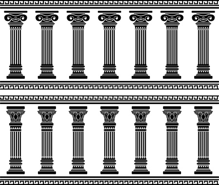 greek column: colonnade. stencil. vector illustration