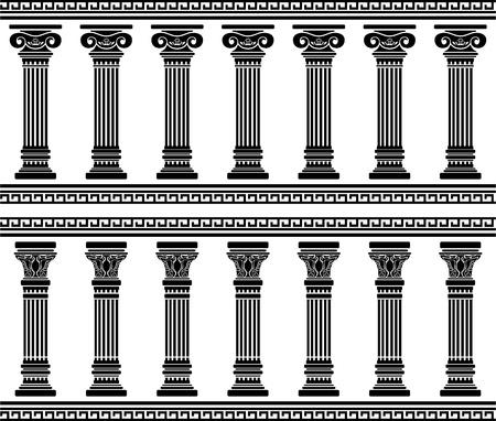 columnas romanas: columnata. stencil. ilustración vectorial Vectores