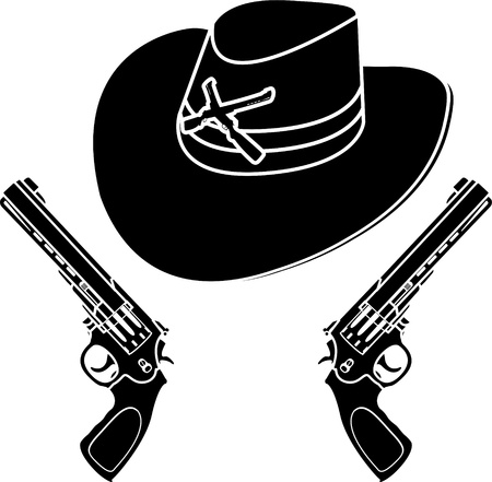 pistols: cowboy hat. stencil. vector illustration