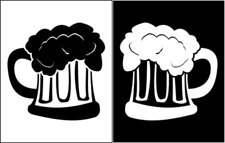 pint: glass of beer. stencil. vector illustration Illustration