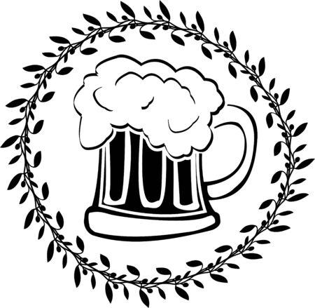 hop plant: stencil of glass of beer. vector illustration